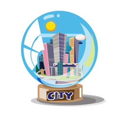 City building in glassball - vector