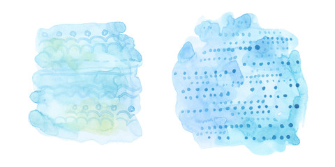 watercolor set of ethnic tribal ornament on blue stain isolated on white