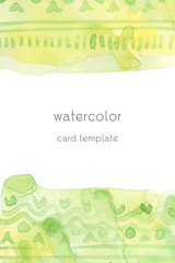 watercolor card template ethnic tribal ornament on a green stain isolated on white