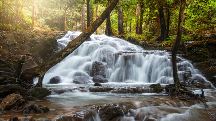 Beautiful waterfall in tropical forest at National Park