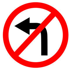 circular single white. red and black no turn left symbol. do not turn left at traffic road sign on white background. traffic sign.
