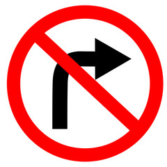 circular single white. red and black no turn right symbol. do not turn right at traffic road sign on white background. traffic sign.
