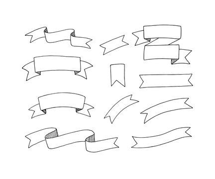 Hand drawn vector ribbons set