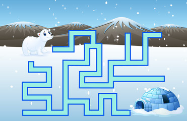 Game polar bears maze find their way to the iglo