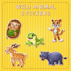 Illustration of cute cartoon wild animals on stikers