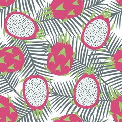 sweet whole dragon fruit and cut dragon fruit tropical exotic fruit pink with seeds pitaya on gray palm leaves background summer seamless pattern vector