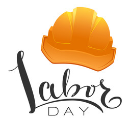 Greeting card labor day text and yellow helmet