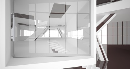 bstract white and brown interior multilevel public space with window. 3D illustration and rendering.
