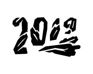 Grunge angular number 2019. Vector illustration