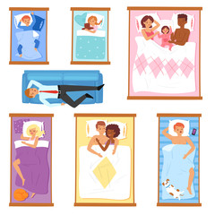 Sleeping people vector sleepy cartoon characters of man or woman and family with baby sleep on pillow in bed overnight illustration set of sleepers sleepyhead businessman isolated on white background