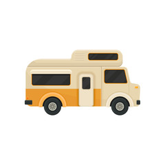 Flat vector icon of orange camper van. Trailer for family journey. Transport with black tinted windows