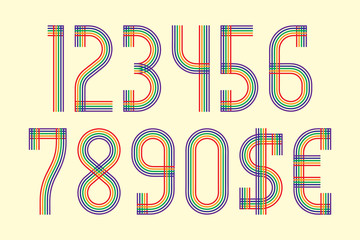Color lines numbers with dollar and euro symbols in retro style.