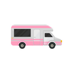Flat vector icon of camper truck. Gray van with bright pink stripes and black tinted windows. Motor vehicle for family travel