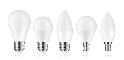 Different kinds of light bulb LED isolated on white background