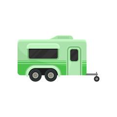 Flat vector icon of bright green camper trailer, side view. Modern home of wheels. Transport for family travel. Vacation and tourism theme