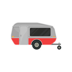 Small gray camper trailer with door and big tinted window, side view. Recreational vehicle. Home of wheels. Flat vector icon