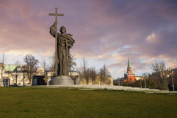 Moscow, Russia, Monument to St. Vladimir. This is a monumental structure, installed on Borovitskaya square in Moscow on the initiative of the city government.