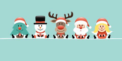 Wall Mural - Banner Tree, Snowman, Rudolph, Santa & Angel Gift Retro