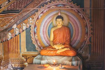 a colorful buddha on a shirne