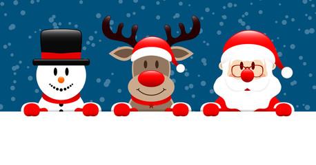 Snowman, Rudolph & Santa Banner Snow Dark Blue