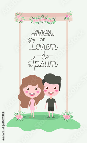 wedding invitation card with couple in wooden frame and flowers ...