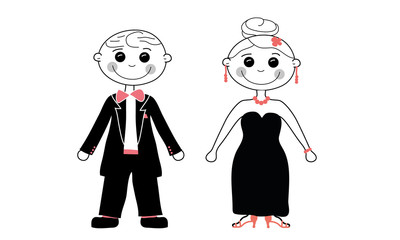 Cute Comic Couple elegant wedding style