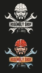 Vintage emblem of the workshop - crossed wrenches and a worker's head in a hardhat. Grunge texture on a separate layer