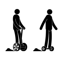 Pictogram  man riding segway and hoverboard. People icon. Individual transport.