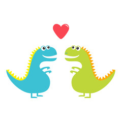 Dinosaur love couple set isolated on white background. Red heart. Happy Valentines Day. Love card. Cute cartoon funny dino baby character. Flat design. Blue and green color.
