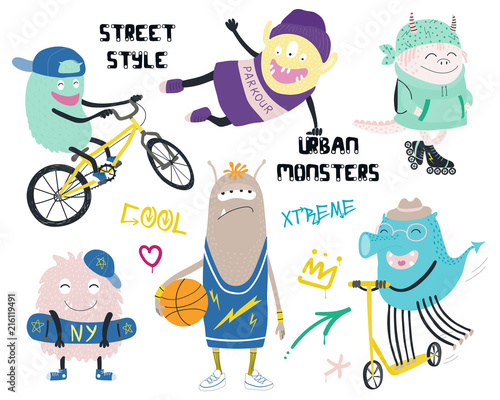 City Set Monsters Modern Of Cute Street Different In Funny JlF1TuKc35