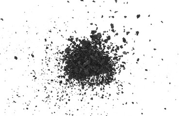 Black coal pile, dust isolated on white background, top view