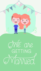 wedding invitation card with couple characters and garlands party