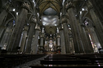 Milan,Italy-July 24, 2018: Interior of Duomo, Milan gothic cathedral