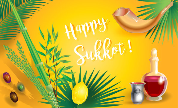 Sukkot Festival greeting card Hebrew text - Happy Sukkot! Lulav, etrog, shofar, palm tree leaves frame. Trendy design Jewish Holiday Rosh Hashana Shana Tova, Sukkot, Yom Kippur, Israel Jerusalem