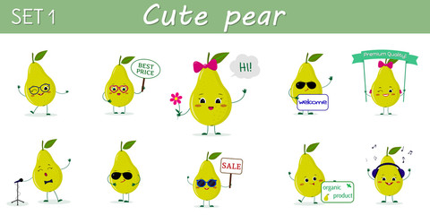 A set of ten nice green pear characters in different poses and accessories in cartoon style.