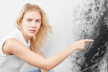 Wall fungus. Aspergillus. A beautiful girl in a white T-shirt points a finger at the black mold on the wall..