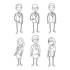 6 Stick Figure Characters Male Female Vector Artwork Line Art