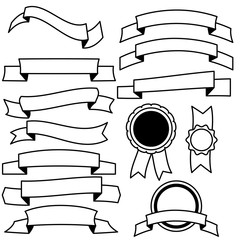Vector collection of decorative design line elements - ribbons, labels.