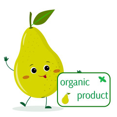 A cute pear green cartoon character holds a plate of organic foods.