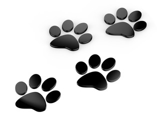 Trail of paw prints, 3d illustration