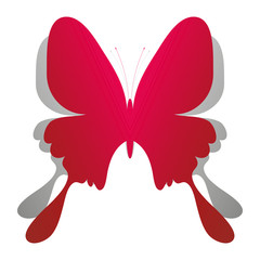 Beautiful red paper butterfly on white background with shadow. Design elements for holiday cards. Vector illustration.