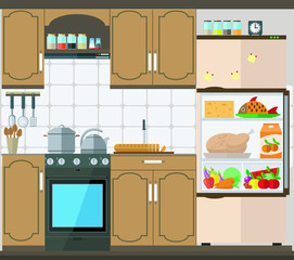Bright kitchen with furniture, appliances and kitchenware. Vector illustration of kitchen set.