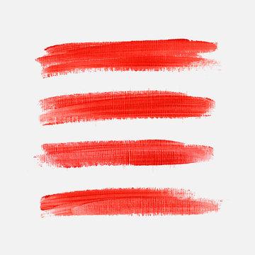 Art brush paint texture strokes set isolated vector background.