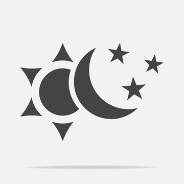 Sun and moon with stars vector icon. The symbol of the change of day and night. Layers grouped for easy editing illustration. For your design.