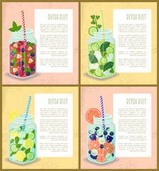 Detox Diet Set Posters Juicy Vegetarian Cocktails