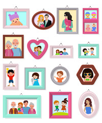 Frame vector framing picture or family photo for wall decoration illustration set of vintage decorative border for photography or portrait with kids and parents isolated on white background