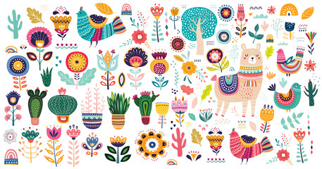 Fototapete - Big vector collection with cute Llama, cacti and flowers.
