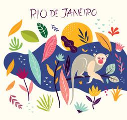 Cartoon vector illustration with little monkey