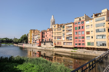 Picturesque houses in Girona, Spain