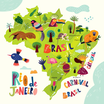 Vector illustration with map of Brazil